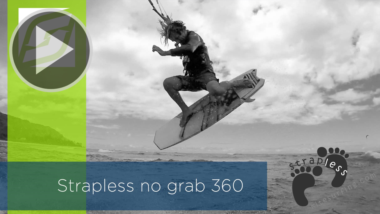 Kitesurfing strapless no grab 360