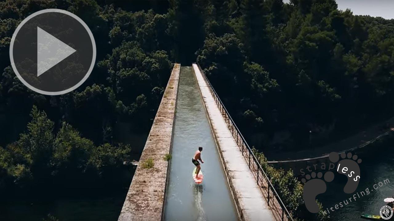 FOIL SURFING ON A BRIDGE
